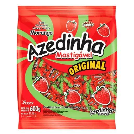 BALA MASTIGÁVEL AZEDINHA MORANGO ICEKISS 600G