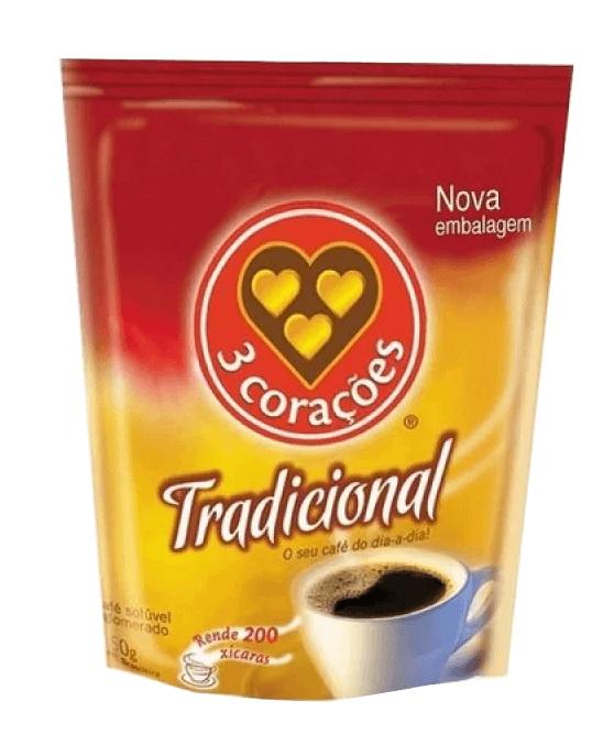 CAFÉ SOLÚVEL 3 CORAÇÕES TRADICIONAL SACHE 50G
