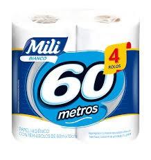 PAPEL HIGIÊNICO MILI FOLHA SIMPLES PERFUMADO 60M C/4