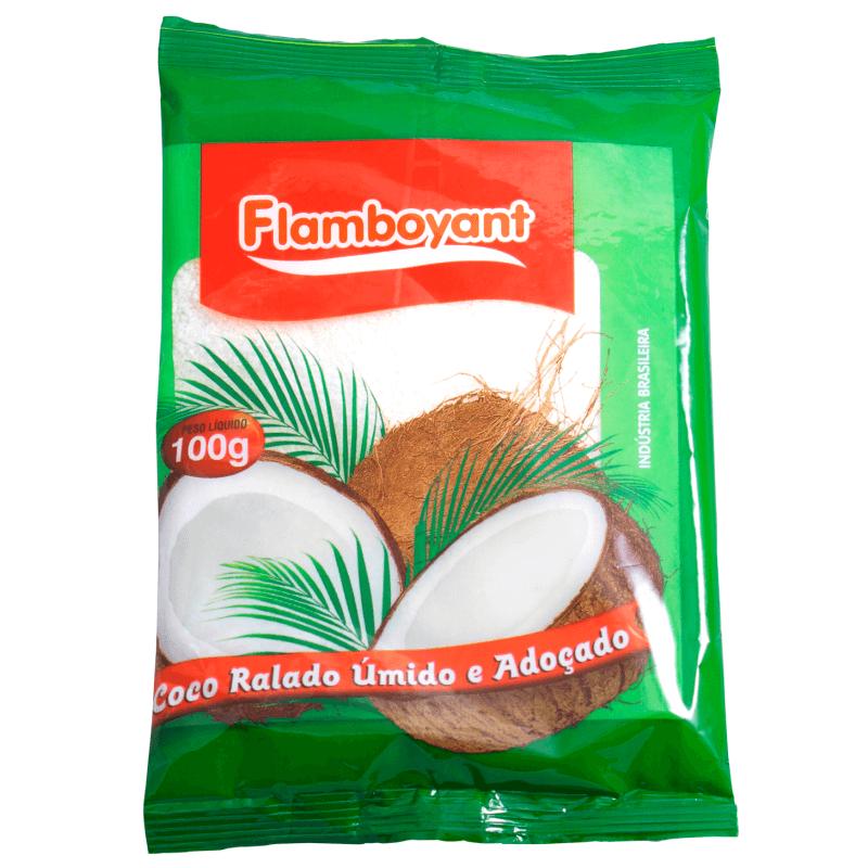 COCO RALADO ÚMIDO E ADOÇADO FLAMBOYANT 100G