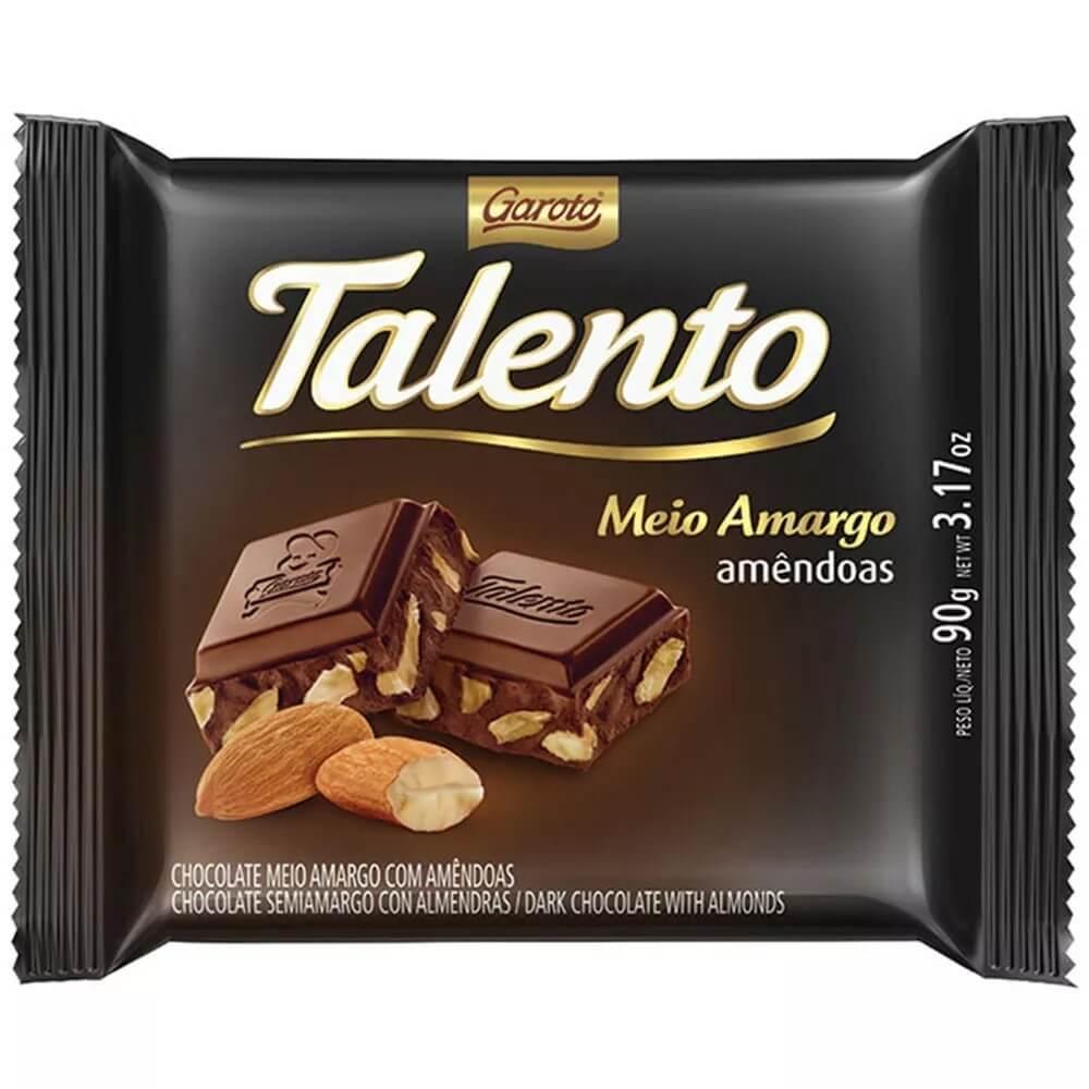 CHOCOLATE TALENTO MEIO AMARGO AMÊNDOAS 90G