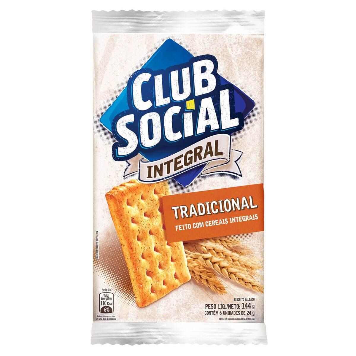 BISCOITO CLUB SOCIAL INTEGRAL TRADICIONAL 144G