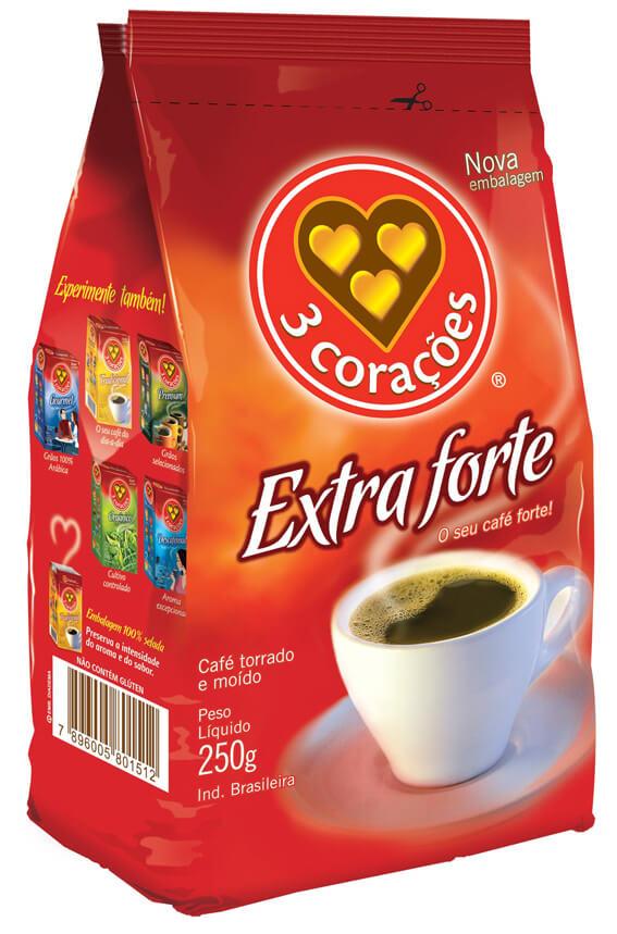 CAFÉ 3 CORAÇÕES EXTRA FORTE 250G