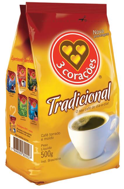 CAFÉ 3 CORAÇÕES TRADICIONAL 500G