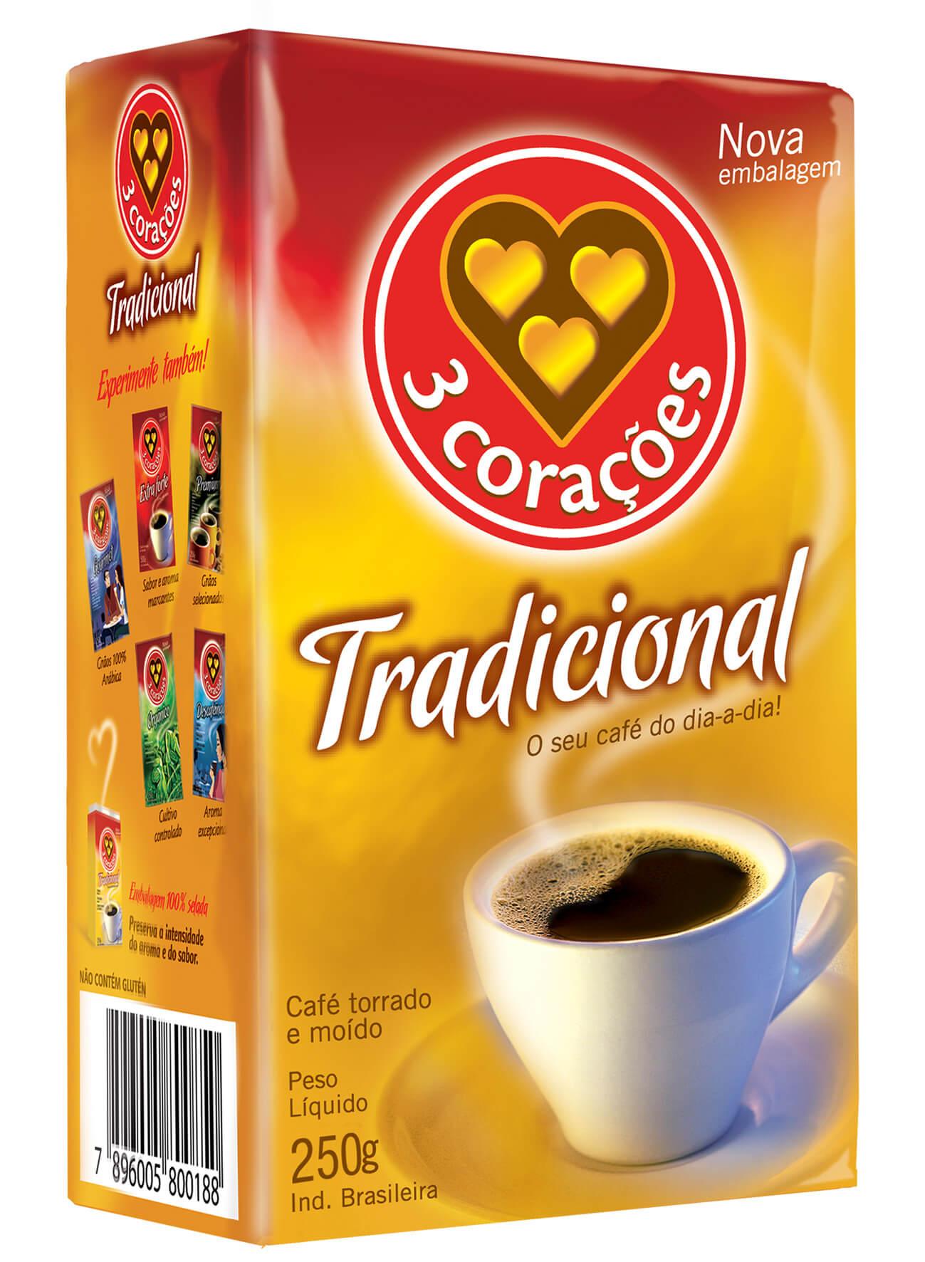 CAFÉ 3 CORAÇÕES TRADICIONAL VÁCUO 250G