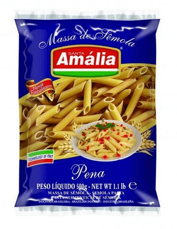 MACARRÃO SÊMOLA SANTA AMÁLIA PENA 500G