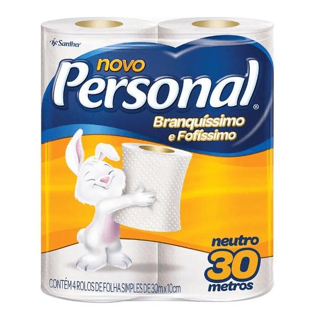 PAPEL HIGIÊNICO PERSONAL FOLHA SIMPLES 30M C/4