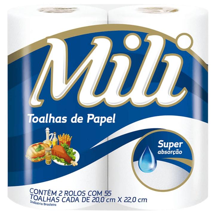PAPEL TOALHA MILI BRANCO COM 2 ROLOS 55FOLHAS