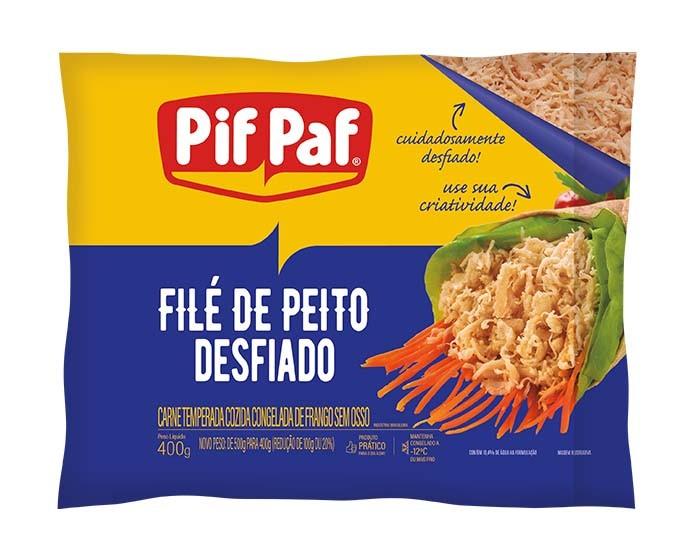 FILE DE PEITO DE FRANGO DESFIADO TEMPERADO PIF PAF 400G