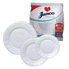 PRATO DESCARTÁVEL JUNCO PLASTICO BRANCO 18,0CM 10 UND