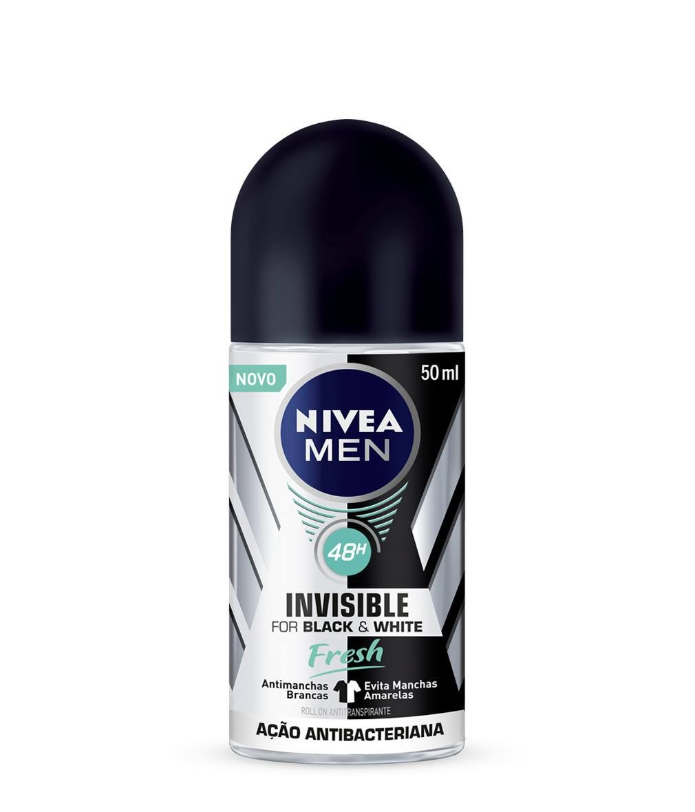 DESODORANTE ROLL-ON NIVEA MEN INVISIBLE BLACK & WHITE FRESH 50ML