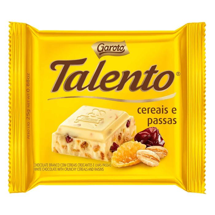 CHOCOLATE BRANCO TALENTO CEREAIS E PASSAS 90G